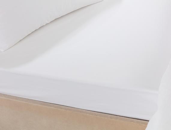 Riz Tek Kişilik Percale Düz Çarşaf - Beyaz