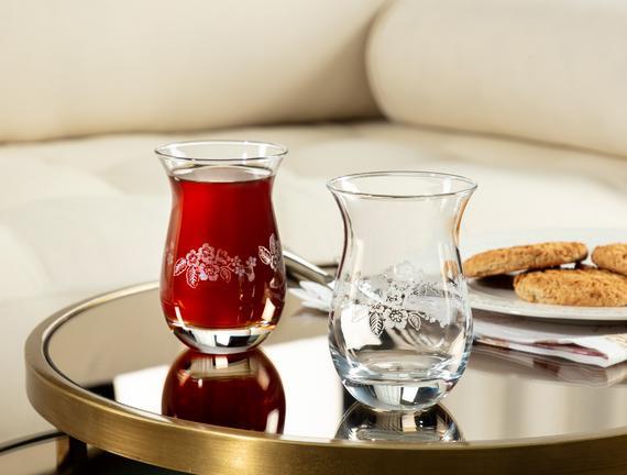 Clarette-Nostalgic Flowers 6'lı Çay Bardağı Seti