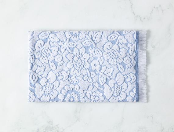 Maynard Jakarlı Yüz Havlusu - Mavi / Beyaz - 50x70 cm