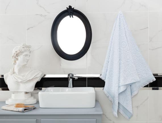 Aceline Jakarlı Banyo Havlusu - Mint / Beyaz - 70x140 cm