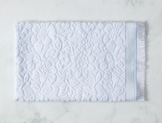 Aceline Jakarlı Yüz Havlusu - Mint / Beyaz - 50x70 cm