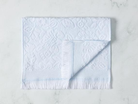 Aceline Jakarlı El Havlusu - Mint / Beyaz - 30x45 cm