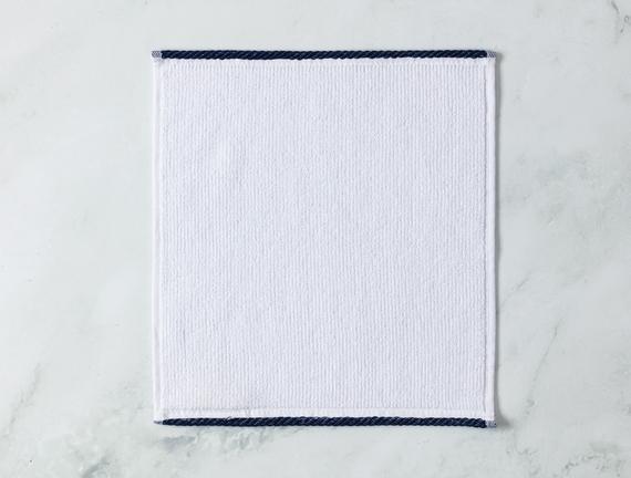 Prudence El Havlusu - Beyaz / Lacivert - 30x30 cm