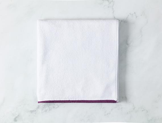Prudence Banyo Havlusu - Beyaz / Mor - 70x140 cm
