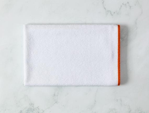Prudence Yüz Havlusu - Beyaz / Turuncu - 50x70 cm