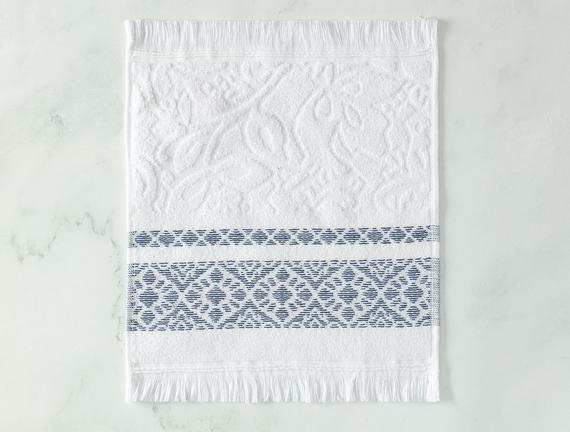 Elita Jakarlı El Havlusu - Beyaz / Lacivert - 30x30 cm
