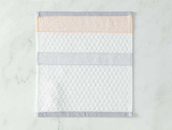 Libre Jakarlı El Havlusu - Beyaz / Gri - 30x30 cm