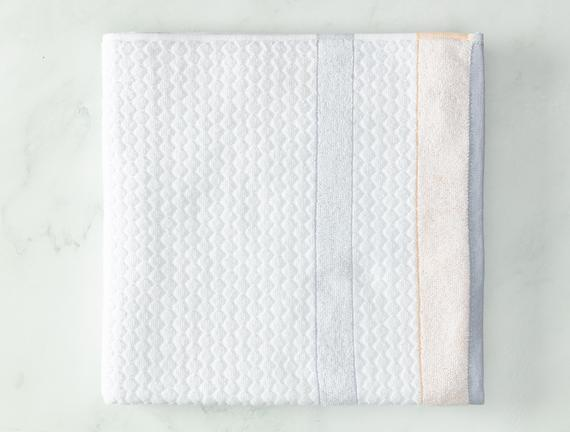 Libre Jakarlı Banyo Havlusu - Beyaz / Gri - 70x140 cm