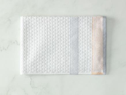 Libre Jakarlı Yüz Havlusu - Beyaz / Gri - 50x70 cm