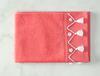 Madie Kroşeli Yüz Havlusu - Koyu Pembe / Beyaz - 50x70 cm