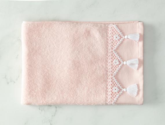 Madie Kroşeli Yüz Havlusu - Pembe / Beyaz - 50x70 cm