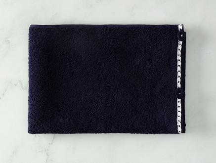 Bernice Kroşeli Yüz Havlusu - Lacivert / Beyaz - 50x70 cm