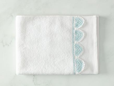 Delmare Kroşeli Yüz Havlusu - Beyaz / Mint Yeşili - 50x70 cm
