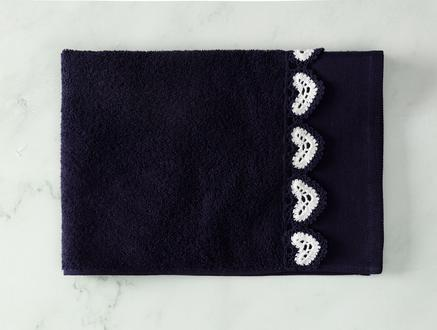 Delmare Kroşeli Yüz Havlusu - Lacivert / Beyaz - 50x70 cm