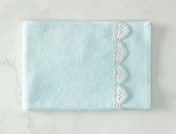 Delmare Kroşeli Yüz Havlusu - Mint / Beyaz - 50x70 cm
