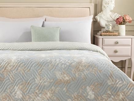 Curtice King Size Baskılı Yatak Örtüsü - Mavi