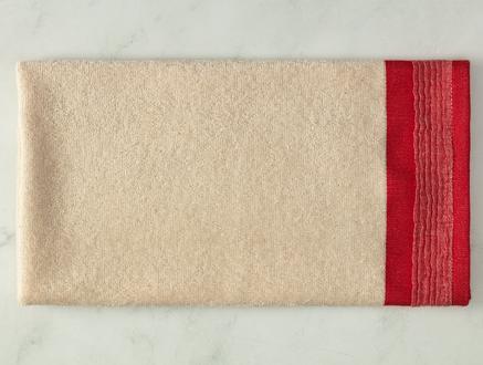 Alain Naturel Yüz Havlusu - Kırmızı - 50x70 cm