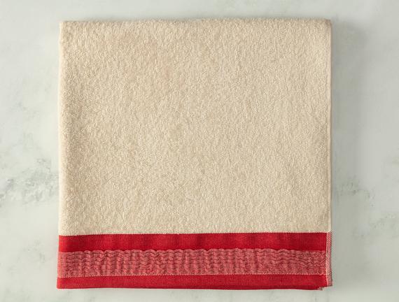Alain Naturel Banyo Havlusu - Kırmızı - 70x140 cm