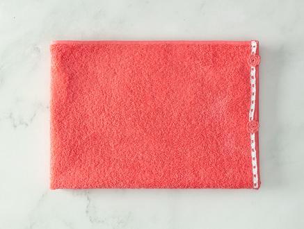 Bernice Kroşeli Yüz Havlusu - Koyu Pembe Beyaz - 50x70 cm