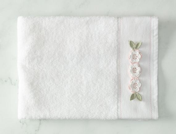 Elicia Kroşeli Yüz Havlusu - Beyaz / Pembe - 50x70 cm