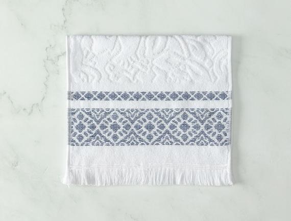 Elita Jakarlı El Havlusu - Beyaz / Lacivert - 30x45 cm