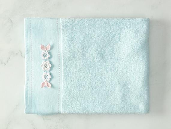 Elicia Kroşeli Yüz Havlusu - Mint / Beyaz - 50x70 cm
