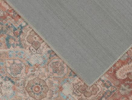 Curtice Dijital Baskılı Halı - Turuncu / Mavi - 80x150 cm