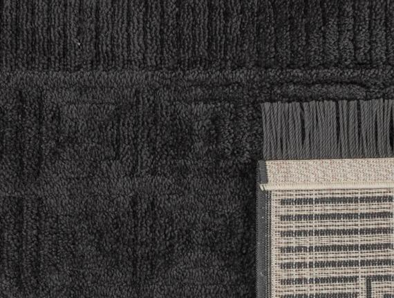 Laura Saçaklı Halı - Antrasit - 80x150 cm