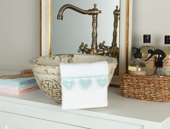 Delmare Kroşeli El Havlusu - Beyaz / Mint Yeşili - 30x40 cm