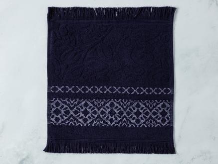 Elita Jakarlı El Havlusu - Lacivert / Beyaz - 30x30 cm
