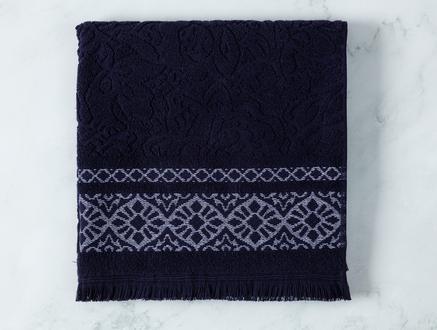 Elita Jakarlı Banyo Havlusu - Lacivert / Beyaz - 70x140 cm