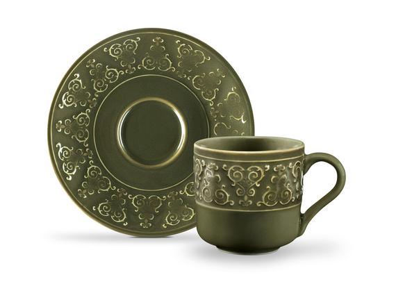 Gloria 2'li Kahve Fincan Seti - Yeşil