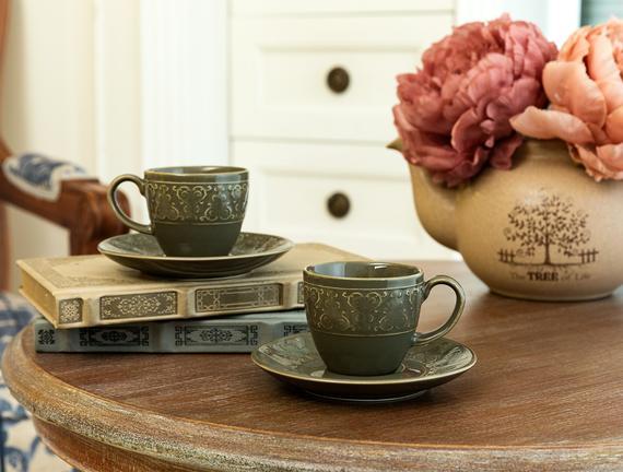 Vailant 2'li Kahve Fincan Seti - Yeşil