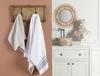 Elita Jakarlı Banyo Havlusu - Beyaz / Lacivert - 70x140 cm