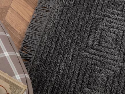 Laura Saçaklı Halı - Antrasit - 120x170 cm