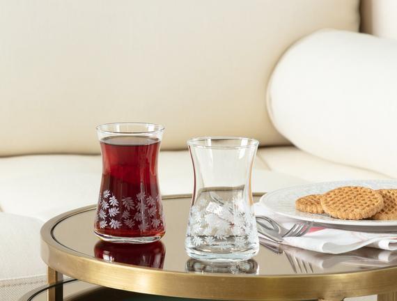 Esperanza White Leaves 6'lı Çay Bardağı Seti 170 ml