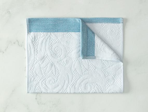 Diandra Jakarlı El Havlusu - Mint / Beyaz - 30x45 cm