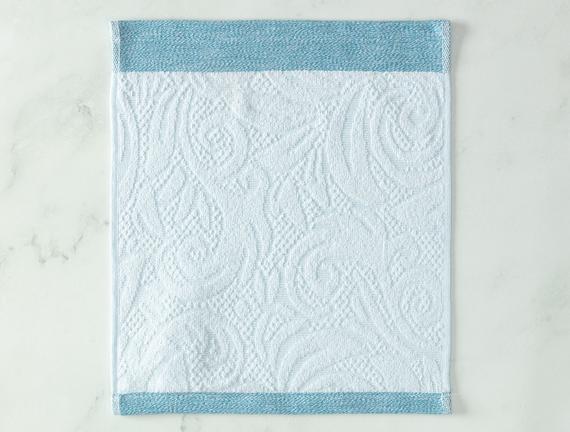 Diandra Jakarlı El Havlusu - Mint / Beyaz - 30x30 cm