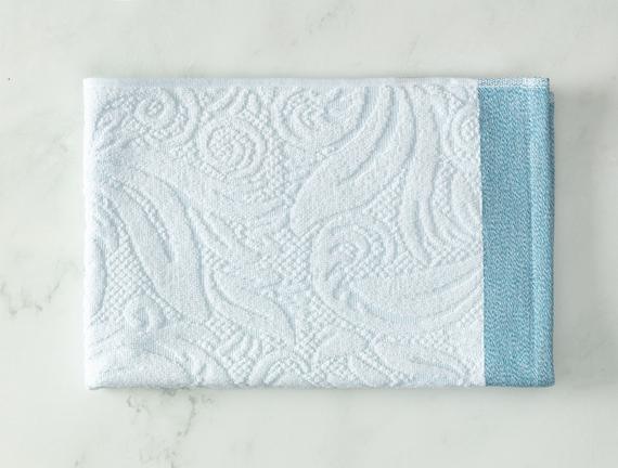 Diandra Jakarlı Yüz Havlusu - Mint / Beyaz - 50x70 cm