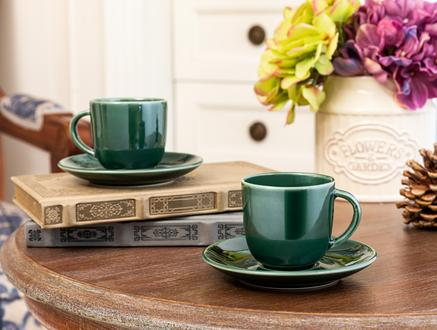 Morane 2'li Kahve Fincan Seti - Yeşil