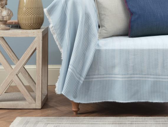 Landry Koltuk Şalı - Mavi / Beyaz - 160x180 cm