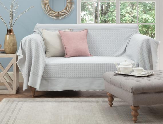Sherly Koltuk Şalı - Gri / Beyaz - 160x250 cm