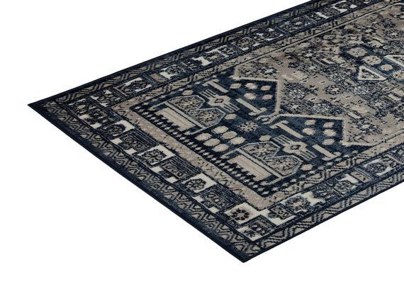 Delancy Halı - Lacivert / Bej - 80x150 cm