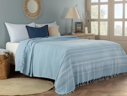 Alegron King Size Yıkamalı Yatak Örtüsü - Açık Mavi