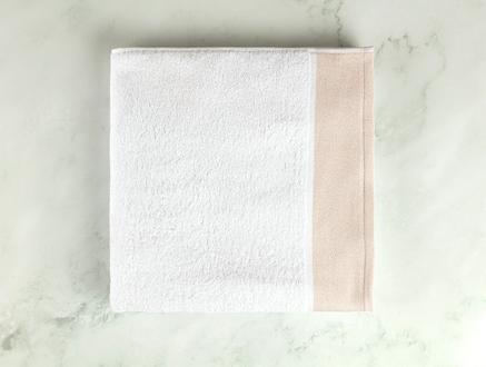 Viviane Banyo Havlusu - Beyaz / Bej - 70x140 cm