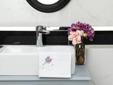 Trace Nakışlı El Havlusu - Beyaz - 30x45 cm