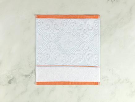 Aluin Jakarlı El Havlusu - Mint / Beyaz - 30x30 cm