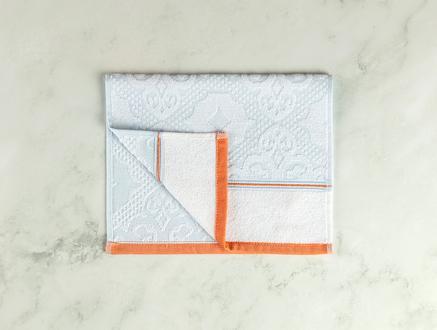 Aluin Jakarlı El Havlusu - Mint / Beyaz - 30x45 cm