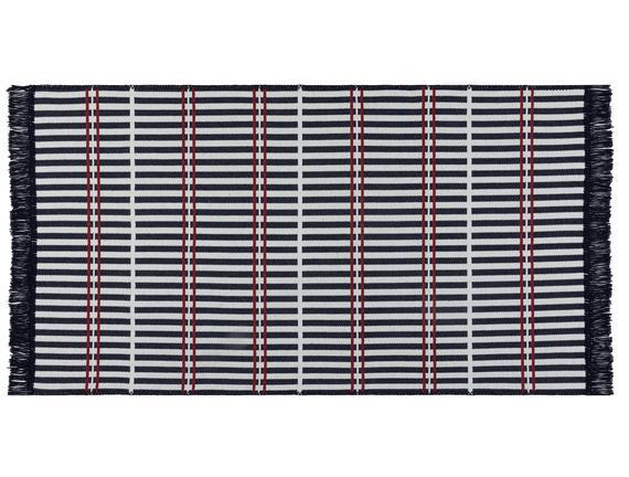 Aceline Saçaklı Dokuma Kilim - Lacivert / Bordo - 120x180 cm