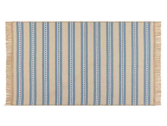 Leonore Saçaklı Dokuma Kilim - Bej / Mavi - 80x150 cm